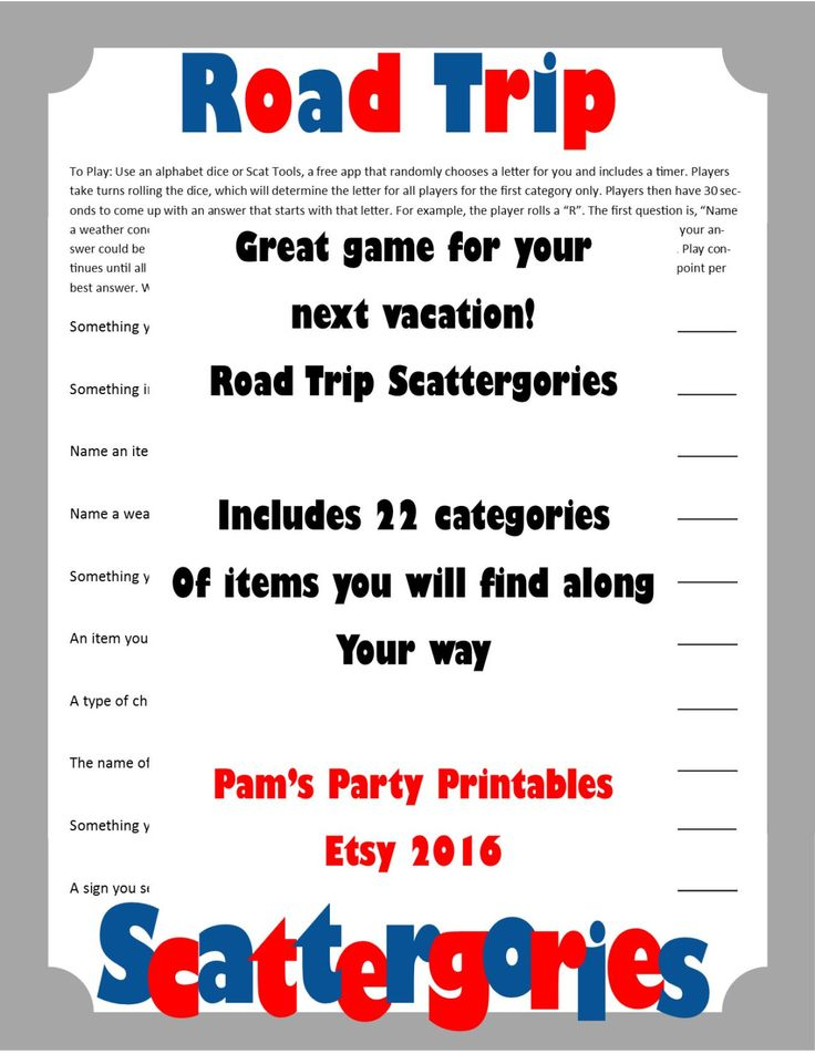 Road Trip Scattergories- Printable Game -  Road Trip Game - Vacation Game - Family Friendly Game for the car - Instant Download by PamsPartyPrintables on Etsy