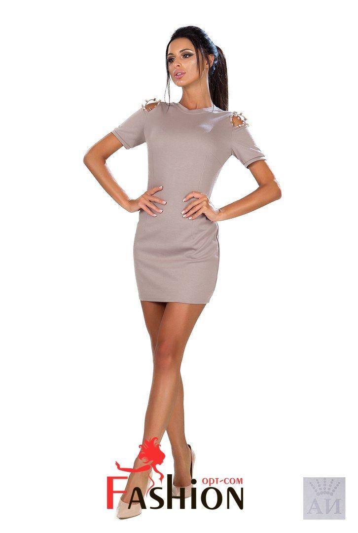 💋7️⃣9️⃣7️⃣руб💋 Платье с шипами на плечах и вырезом на спинке Мод.1040 Размер: S; M Производитель: Secret Ткань: Трикотаж Цвета: бежевый.