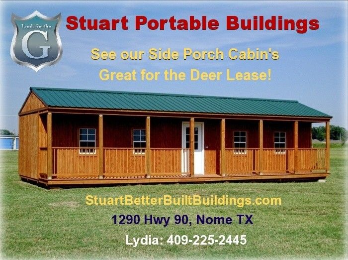 Stuart portable buildings 1290 hwy 90 nome tx the for Cabin builder texas