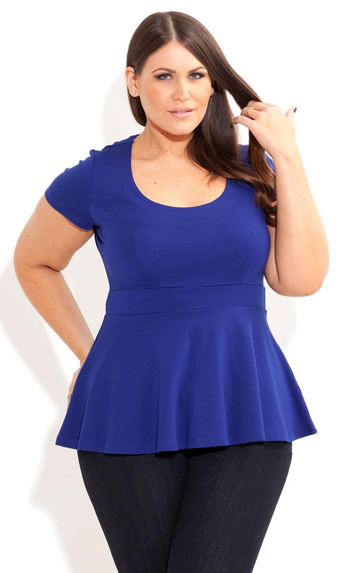 City Chic - SHORT SLEEVE PEPLUM TOP - Women's plus size fashion