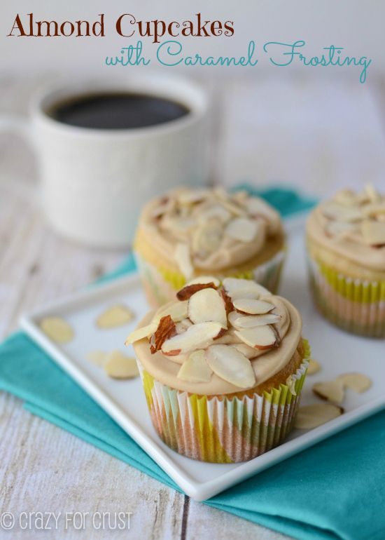 almond-cupcakes-caramel-frosting