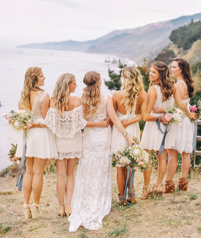 Get the Look: White Lace Boho Bridesmaid Dresses | SouthBound Bride | Credit: Priscila Valentina/ Sitting In A Tree Design/Siren Floral Co. via Green Wedding Shoes