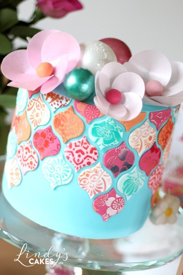 Pretty Tiled Cake In Pink And Aqua