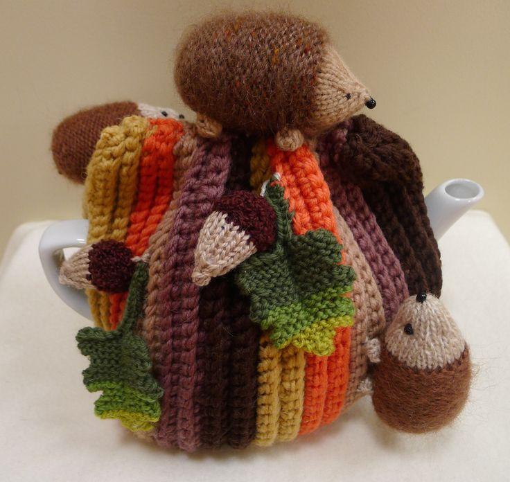Hedgehogs and acorns tea cosy