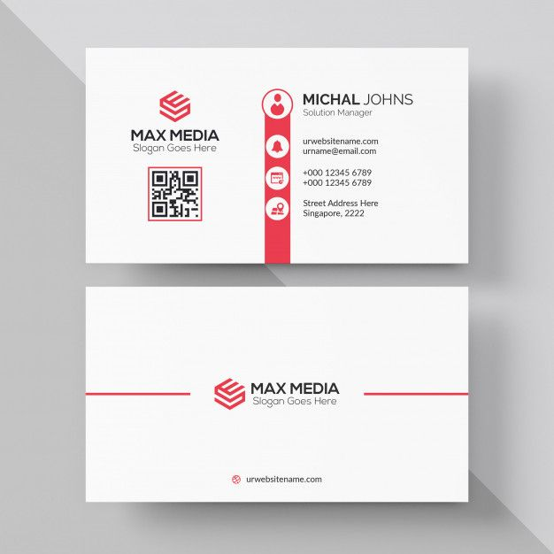 Red And White Business Card Business Card Red Red Business Card Design White Business Card