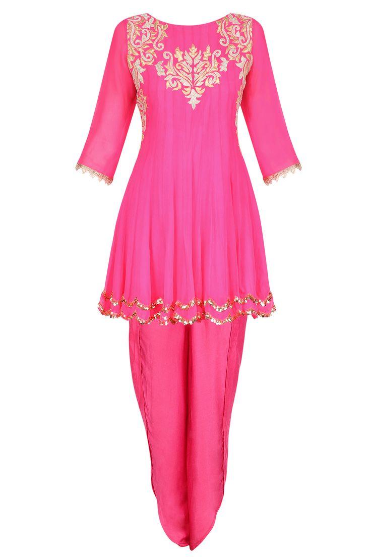 Bright pink tissue brocade work short anarkali kurta and dhoti pants set available only at Pernia's Pop Up Shop.