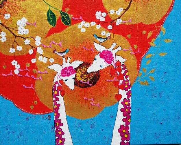 그대있어 좋은 날/mixed media  예술,그림,기린,꽃,매화,새,물고기,빨강 사랑,행복, 소통,김민정,두요김민정 김민정화가,서양화가 김민정