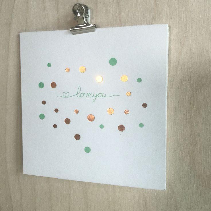Geboortekaartje koperfolie confetti via Lief Leuk & Eigen