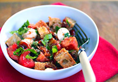 Recipe for two-tomato bread salad with roasted garlic dressing from ...