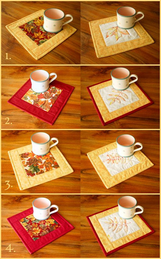 Quilted Fabric Mug Rug Autumn Leaves 2 @Maria Canavello Mrasek Canavello Mrasek Canavello Mrasek Patch Mill