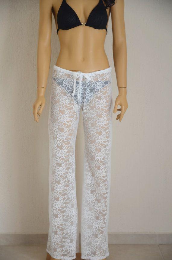 Solid white crochet lace boho beach pant -Yoga pant -Festival pant -Beach lounge pant -Bell Bottoms-Choose your COLOR !!! XS-S-M-L-XL