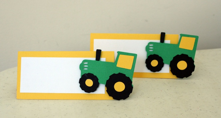 12 Green and Yellow Tractor Treat Bag Toppers, John Deere inspired birthday, Tractor Birthday Party Table Decorations,  tractor birthday. $15.00, via Etsy.
