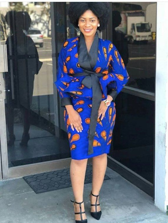 bd2ae9df57c20 African Print Two Piece Outfit, Wrap Jacket and Skirt. Also available in  other prints, please send a massage for pictures of other available prints  we have ...