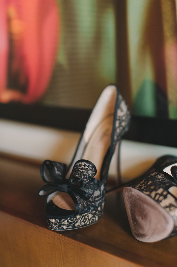 black lace Valentino bow pumps for the bride   Ultra Chic Black + White Wedding in Toronto   Images by Mango Studios