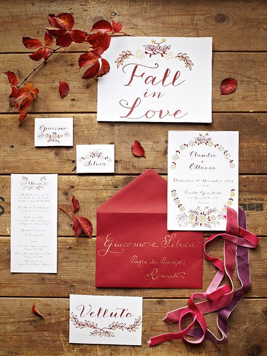 Wedding stationery for Rosenvoile Party Atelier #wedding #stationery #calligraphic #red #gold #vintage