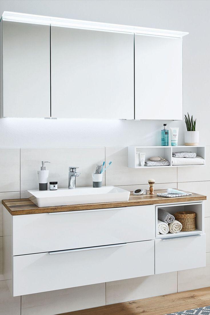 Badezimmer Aspekt Weiss Hunton Eiche Von Puris Mobel Letz Ihr Online Shop In 2020 Badezimmer Spiegelschrank Badezimmer Set