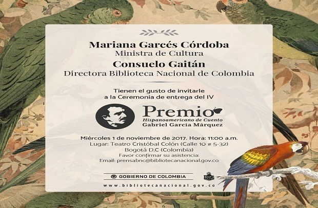 próximo miércoles 1 de noviembre, de la ceremonia de entrega de la cuarta versión del Premio Hispanoamericano de Cuento Gabriel García Márquez.