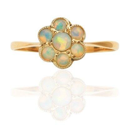 Basket of Opals... Original 1930s Opal Daisy ring