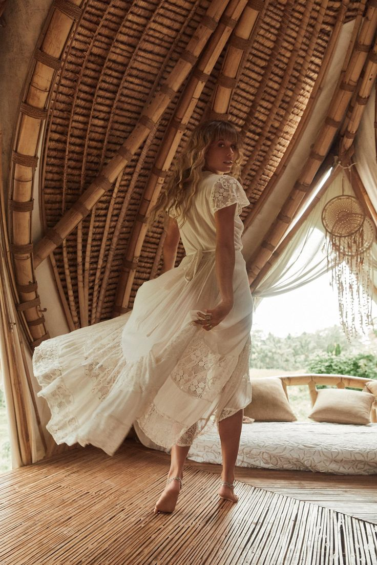 """Tree of Life """"Morning Star"""" Photography Ming Nomchong Muse Madeline Relph Stylist Meherose Borthwick Make Up Phoebe FEVER Hair Rebecca Doney Assistant Billie Edwards Digital Tech Grant Tyrrell """"This most romantic collection encouraged our creative team to find the dreamiest scene for barefoot beauty, Madeline Relph. Nestled in the hinterlands of Ubud, Bali, the location of our Morning Star shoot was a …"""