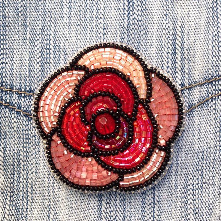 Купить Брошь вышитая бисером Роза - брошь из бисера, бисер, Вышивка бисером, продажа