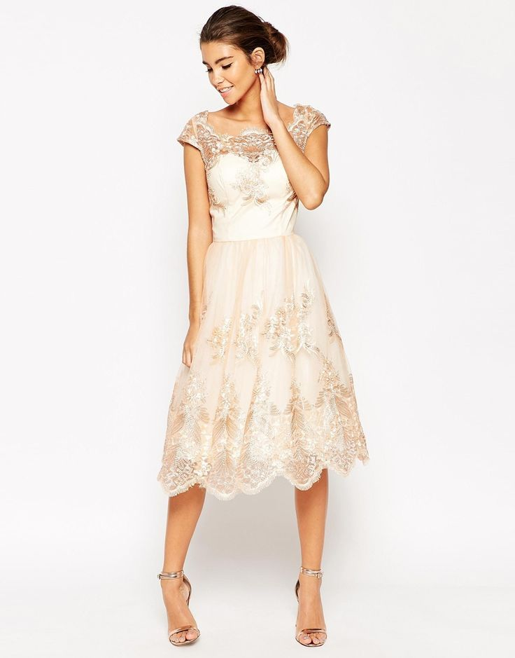 """ASOS Chi Chi London Premium Lace Midi Prom Dress With Bardot Neck- I really like this dress and think it's very pretty but the model is 5'9"""" and it's midi on her- should be recreated knee length."""