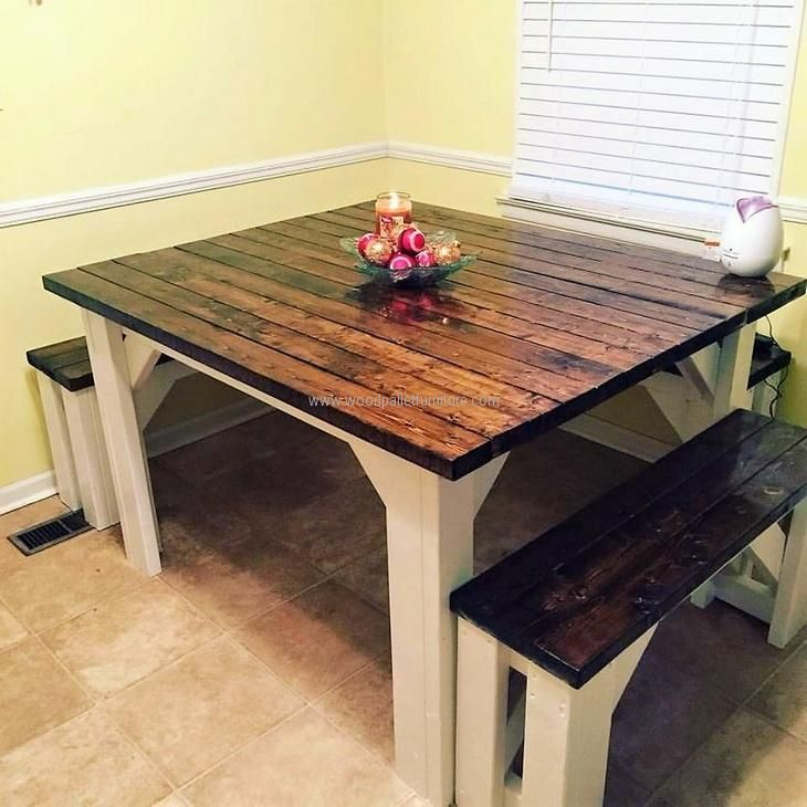 A perfect idea for fulfilling the dinning need, repurposed wood pallets are painted with dark brown color along with the benches which are looking good.