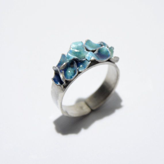 Cyan petals enamel ring by JRajtar on Etsy