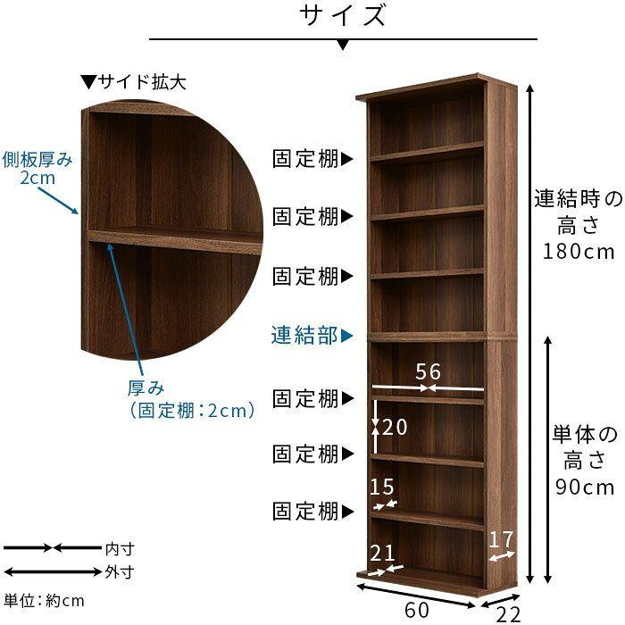 楽天市場 薄型 本棚 幅60cm 2個組 書棚 スリム 大容量 オシャレ 棚 絵