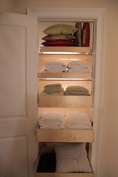 Linen Closet Pull Out Shelves - closet organizers - miami - ShelfGenie of Miami