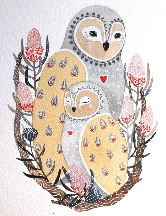 Owl Illustration  Watercolor Painting  Lua and Dali by RiverLuna, $20.00 ARTIST: Marisa Redondo: