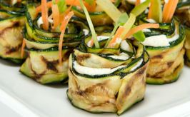 Grilled zucchini roll with goats cheese made by the Small Food Caterers in Adelaide.
