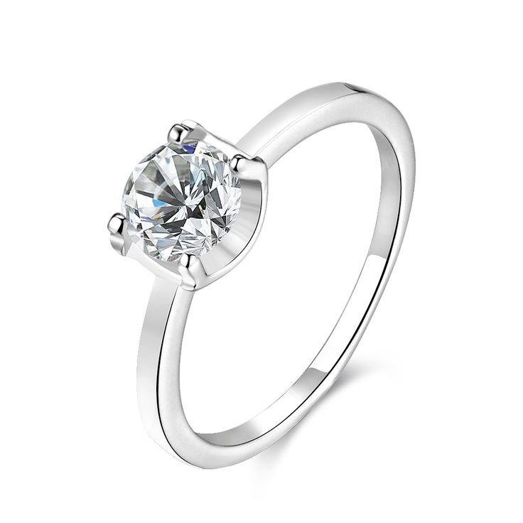 Tuker Classic fashion Lucky simple creative round Cubic Zirconia Rings Silver Color Party Wedding Jewelry For Women Gift