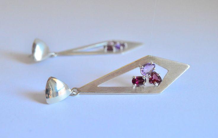 Orecchini tormalina rosa,orecchini argento 925,orecchini rodolite,orecchino…