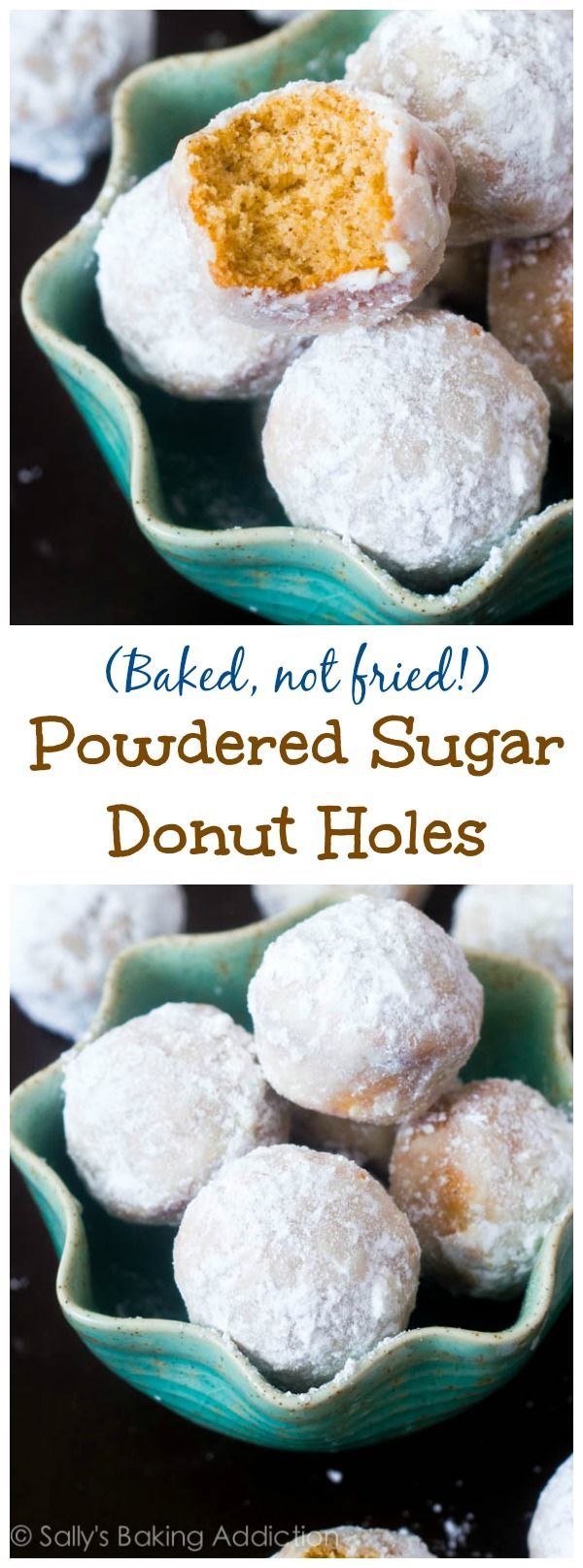 Everyone will LOVE these Baked Powdered Sugar Donut Holes. Baked in a mini-muffin pan. Not fried!