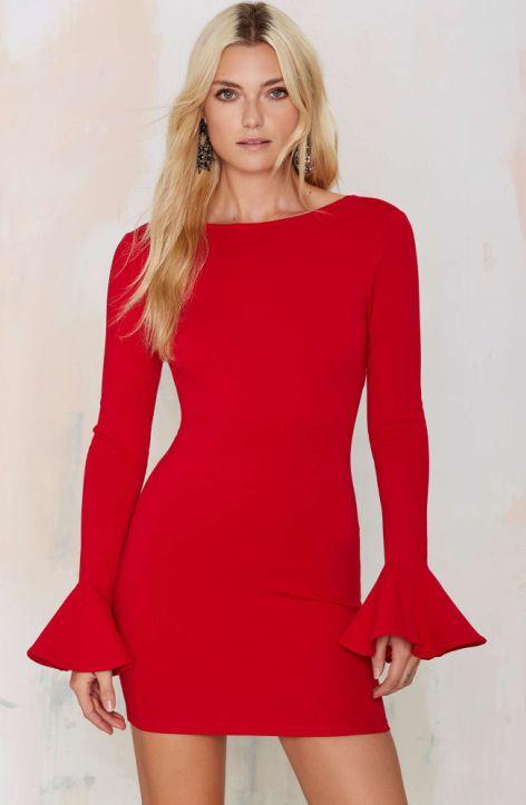 Elegant Red Long Sleeve Bandage Dress for Women Winter