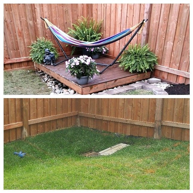 Easy Way To Hide A Unsightly Storm Drain Catch Basin Built A Lightweight Removable Deck Stones Underneat Yard Drain Backyard Garden Design Backyard Makeover