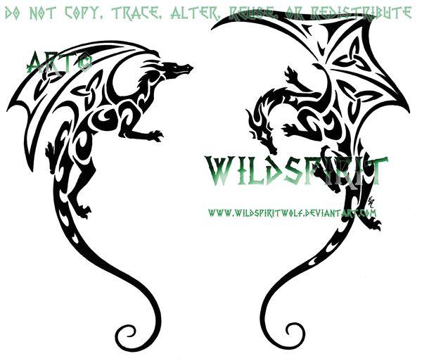 Shoulder Dragon Pair Tattoo by WildSpiritWolf.deviantart.com on @deviantART