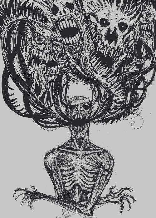 drawing art Black and White depressed depression sad head pain anxiety alone silence draw crazy dark skull fear Monsters sadness darkness inside feel kills demons