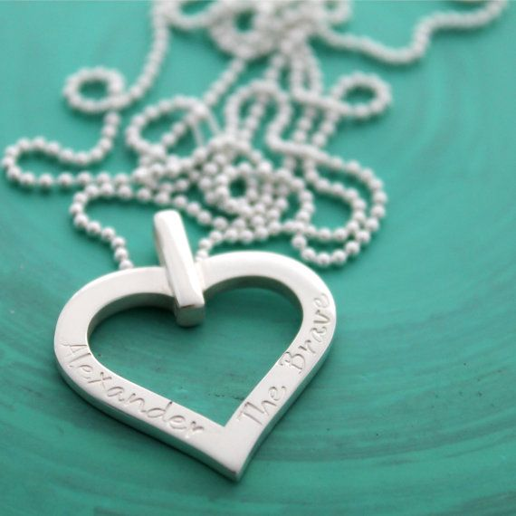 Personalised Hand Stamped Heart Pendant  Sterling by MrsFickle