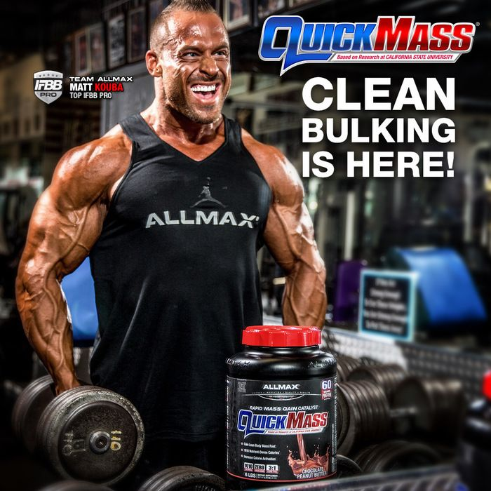 QUICKMASS is an ideal 3:1 Carb to Protein ratio, top trainers & #TeamALLMAX athlete & #IFBBpro Matt Kouba uses this rapid mass gain catalyst to build massive muscle post-workout.  The world's first and only calorie-activated mass gainer. In fact, QUICKMASS contains only 3g of sugar per scoop! It also contains a blend of carbohydrates including high-molecular weight maltodextrin, sweet potato, quinoa and oat fiber to lengthen nutrient delivery and provide sustained levels of higher energy.
