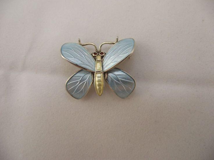 VTG Norway Sterling Silver 925 Blue Enamel Butterfly Brooch Pin Einar Modahl  #EinarModahl