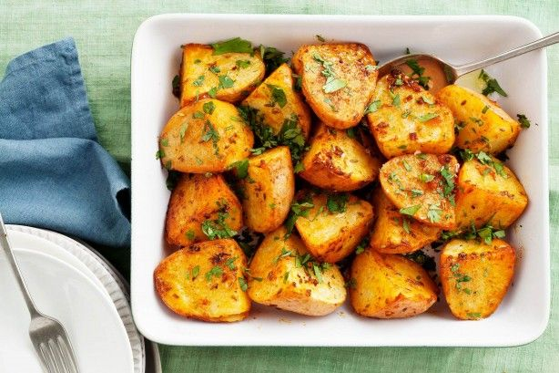 This recipe is a twist on traditional roast potatoes with a coating of smoked paprika and cumin and finished with a sprinkling of fresh coriander.