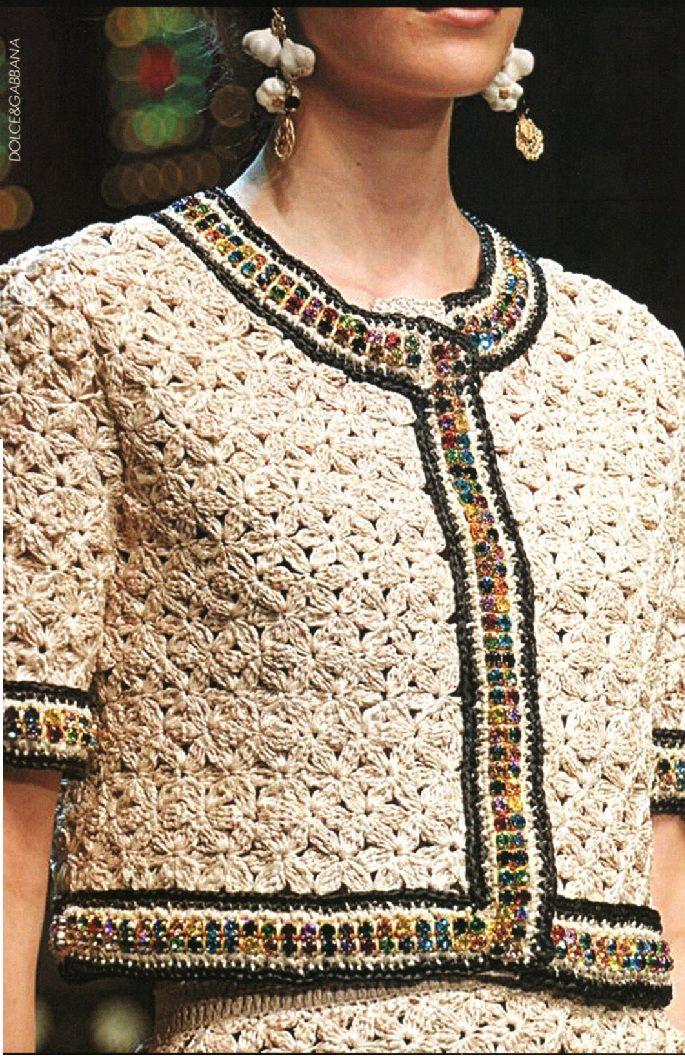 Жакетик цветочным узором крючком а-ля Dolce&Gabbana. Обсуждение на LiveInternet - Российский Сервис Онлайн-Дневников