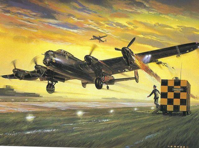 RAF Lancaster - returning home :: Airfix model kit art, Illustrated by Roy Cross