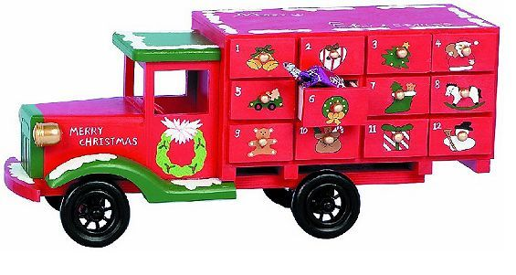Tesco direct: Wooden Christmas Advent Calander Truck Red - Fill Your Own