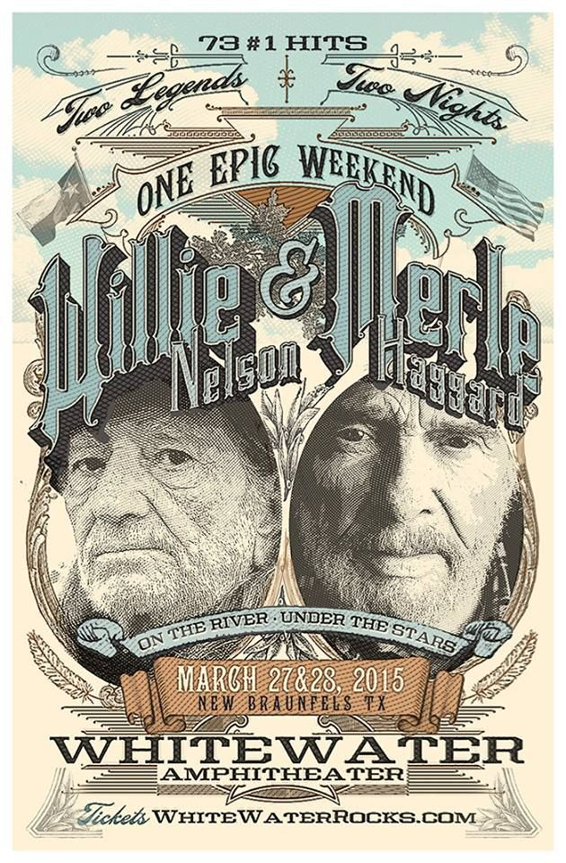 Willie Nelson and Merle Haggard, March 2015, Whitewater Amphitheater, New Braunfels, Texas.