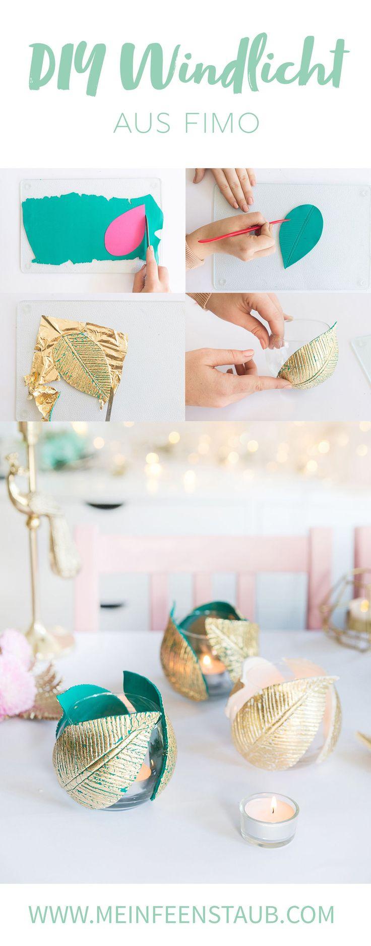 DIY: Lantern with FIMO leaves & gold leaf