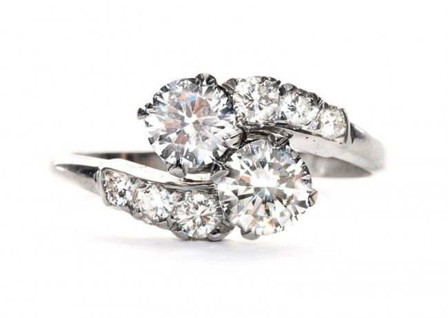 Vintage Two Stone Engagement Rings Rings Pinterest