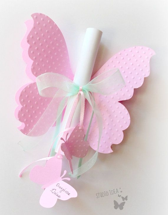 Pink Butterfly shaped Invitation
