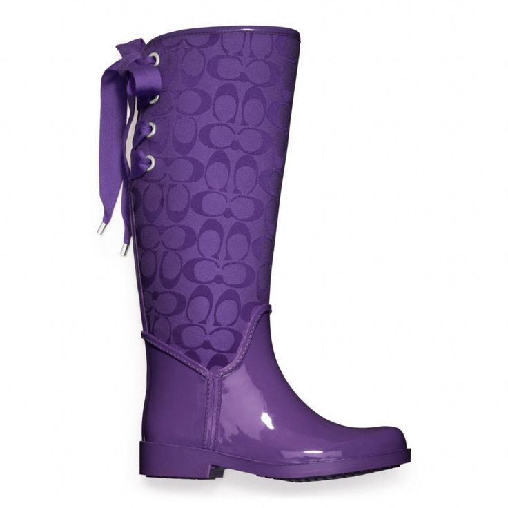 Coach :: Tristee Rainboot - Purple -  Lightweight, rain-resistant canvas-and-rubber boots lace up with refined cotton ribbons.